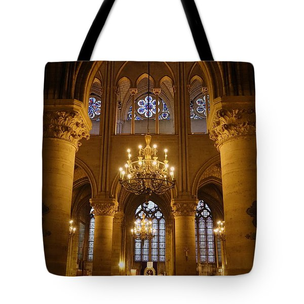 Architectural Artwork Within Notre Dame In Paris France Tote Bag by Richard Rosenshein