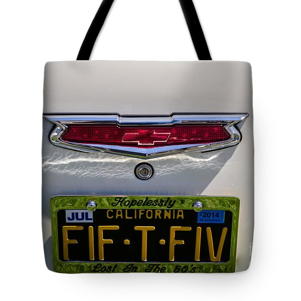 Tote Bag featuring the photograph 55 Chevy by Mitch Shindelbower