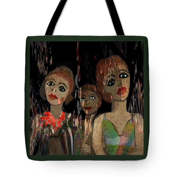 562 - Three Young Girls   Tote Bag by Irmgard Schoendorf Welch