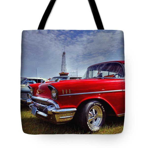 Tote Bag featuring the photograph 57 Chevy Belair by Trey Foerster