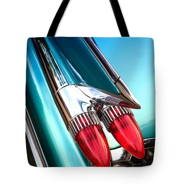 Tote Bag featuring the photograph '59  Caddy Tail Fins by David Perry Lawrence