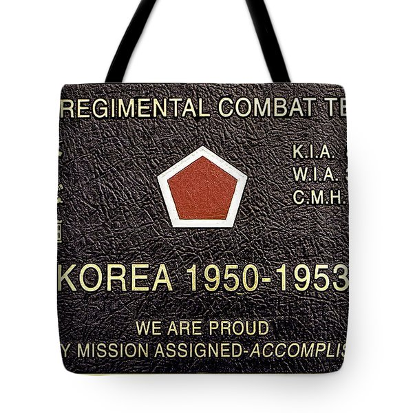 5th Regimental Combat Team Arlington Cemetary Memorial Tote Bag