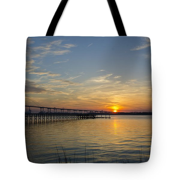 Tote Bag featuring the photograph Arthur Ravenel Bridge Tranquil Sunset by Dale Powell