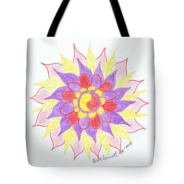 Tote Bag featuring the drawing 6 by Beth  Cornell