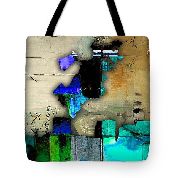 Boston Map And Skyline Watercolor Tote Bag