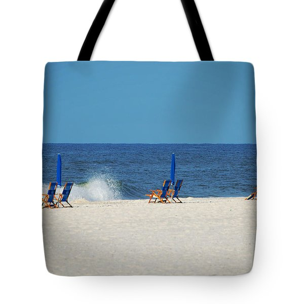 Tote Bag featuring the digital art 6 Chairs And Umbrella by Michael Thomas