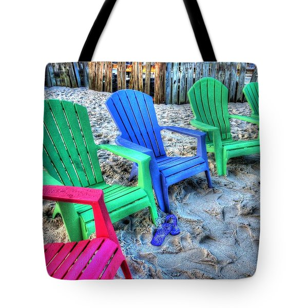 Tote Bag featuring the digital art 6 Chairs by Michael Thomas