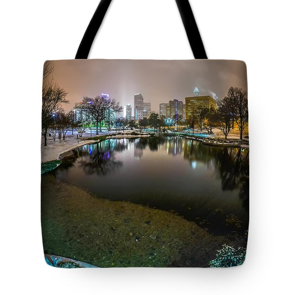 Charlotte Nc Skyline Covered In Snow In January 2014 Tote Bag