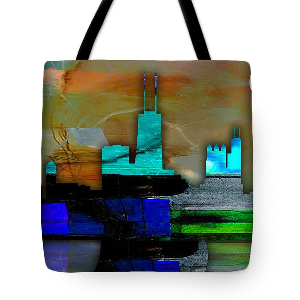 Chicago Skyline Watercolor Tote Bag by Marvin Blaine