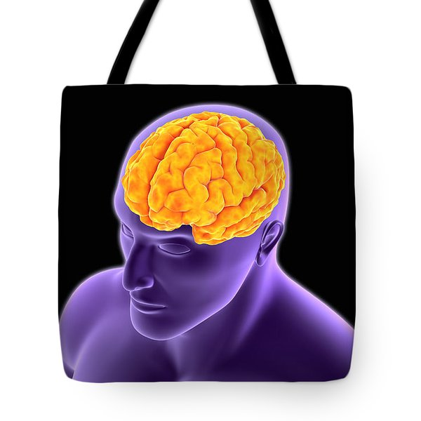 Conceptual Image Of Human Brain Tote Bag by Stocktrek Images
