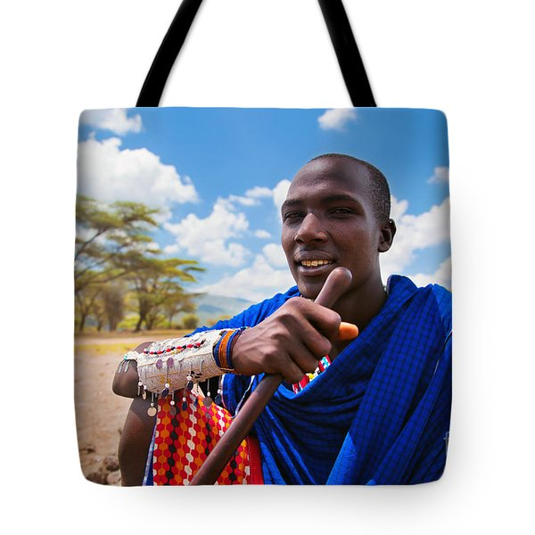 Maasai Man Portrait In Tanzania Tote Bag by Michal Bednarek