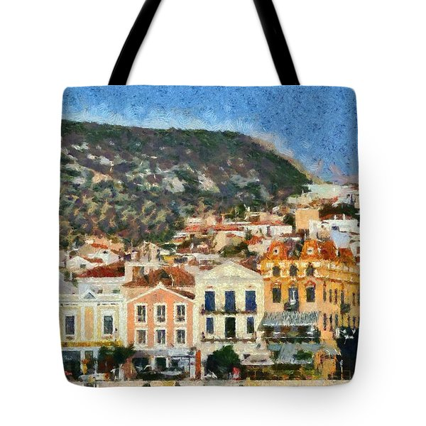 Mytilini Port Tote Bag by George Atsametakis