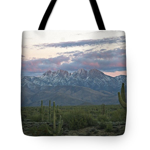 Four Peaks Sunset Snow Tote Bag