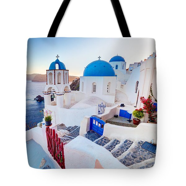 Oia Town On Santorini Greece Tote Bag