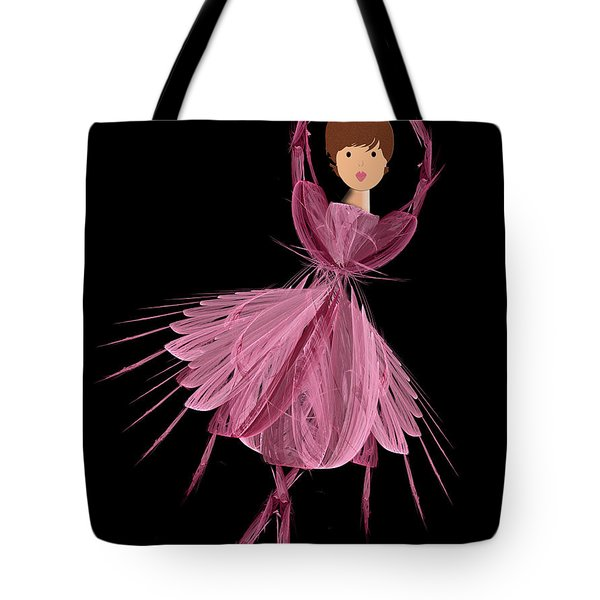 6 Pink Ballerina Tote Bag by Andee Design