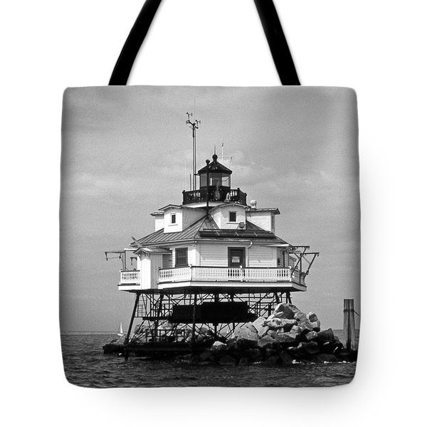 Thomas Point Shoal Lighthouse Tote Bag by Skip Willits