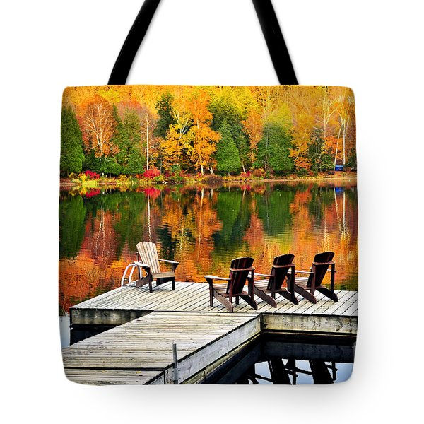 Wooden Dock On Autumn Lake Tote Bag by Elena Elisseeva