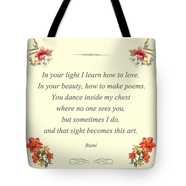 60- Rumi Tote Bag by Joseph Keane