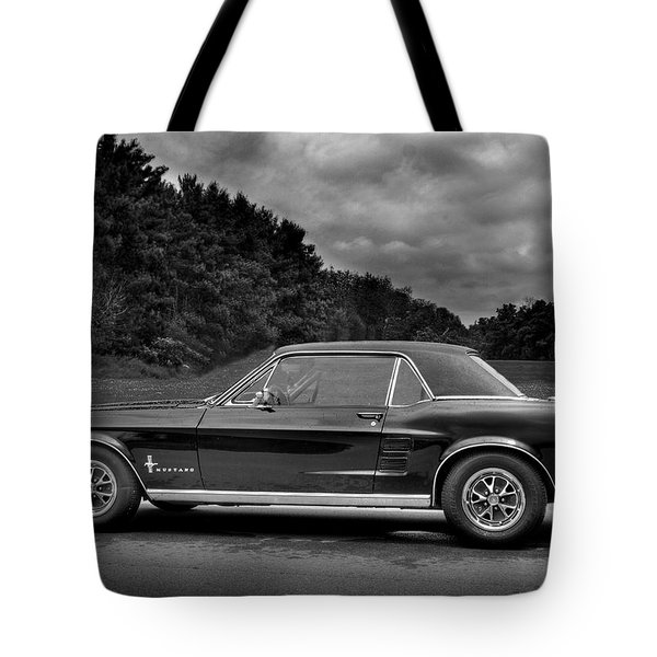 67 Mustang Black And White Tote Bag