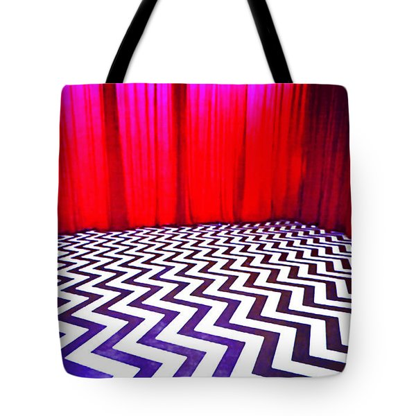 Tote Bag featuring the painting Black Lodge by Luis Ludzska