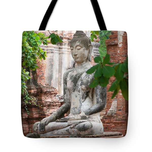 Tote Bag featuring the photograph Buddha Statue by Yew Kwang