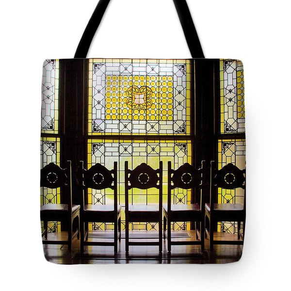 7 Chairs And Stained Glass Tote Bag
