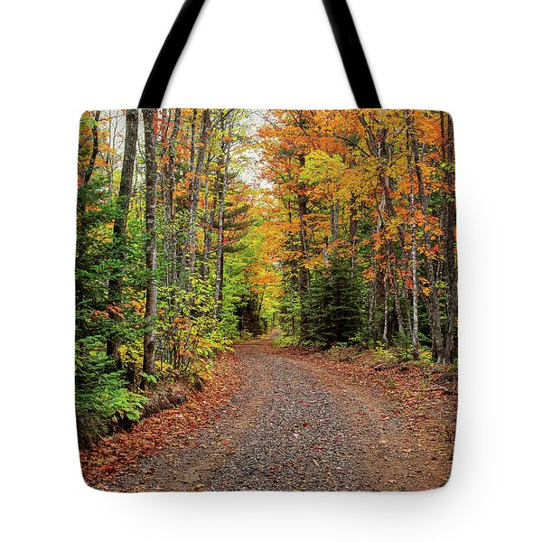 Dirt Road Passing Through A Forest Tote Bag