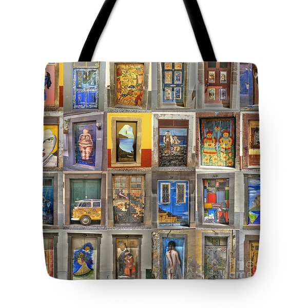 Tote Bag featuring the photograph Funchal Door Art by David Birchall