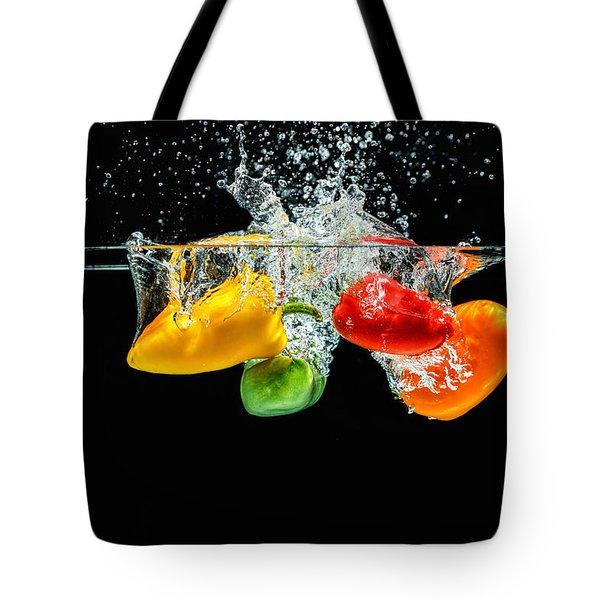 Splashing Paprika Tote Bag by Peter Lakomy