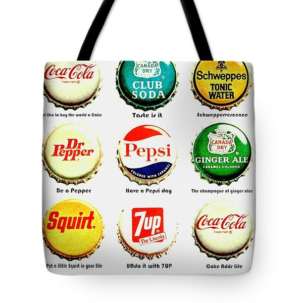 70s Soft Drink Slogans Tote Bag