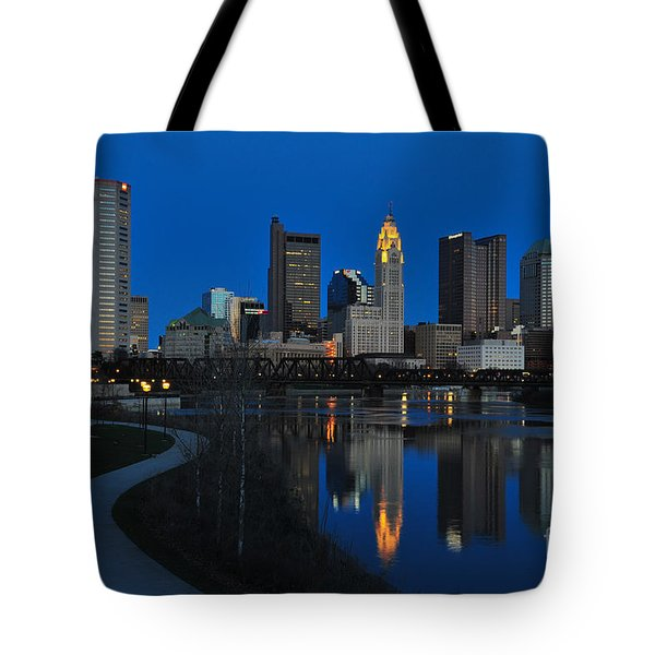 Columbus Ohio Skyline At Night Tote Bag