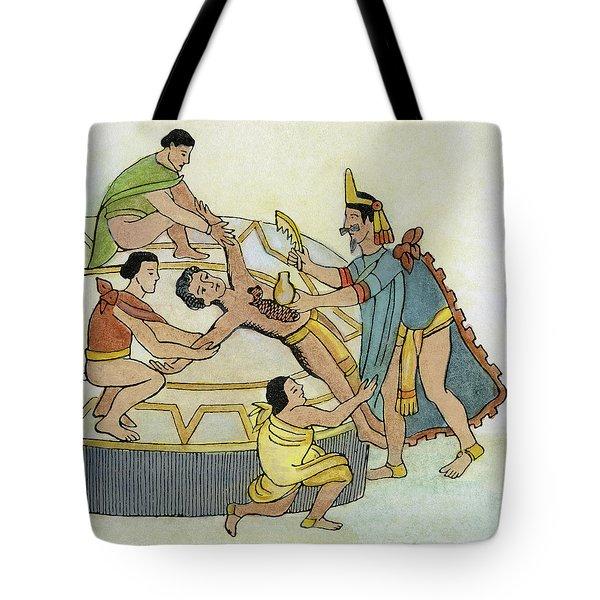 Mexico Aztec Sacrifice Tote Bag