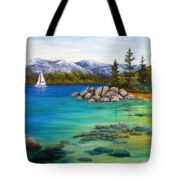 Tote Bag featuring the painting Sand Harbor  Wip by Darice Machel McGuire