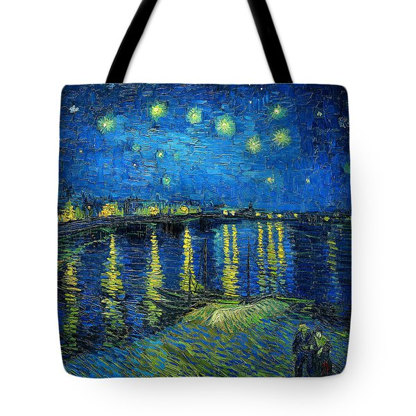 Tote Bag featuring the painting Starry Night Over The Rhone by Vincent van Gogh
