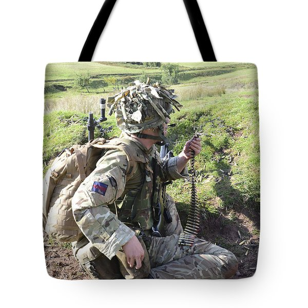 Welsh Guards Training Tote Bag by Andrew Chittock