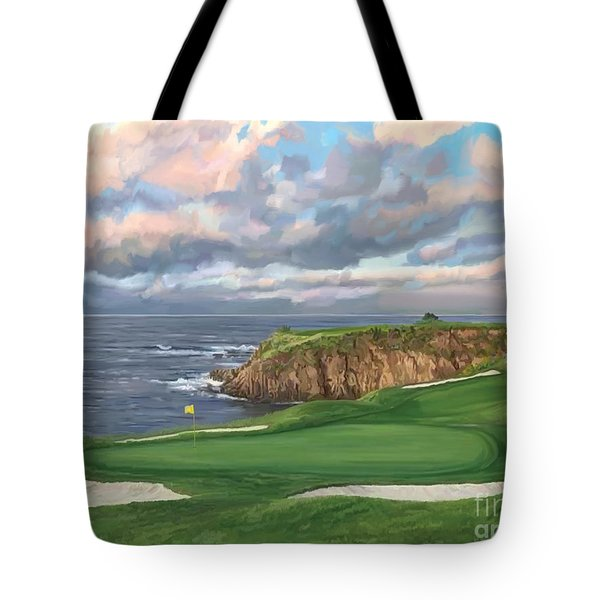 8th Hole Pebble Beach Tote Bag by Tim Gilliland