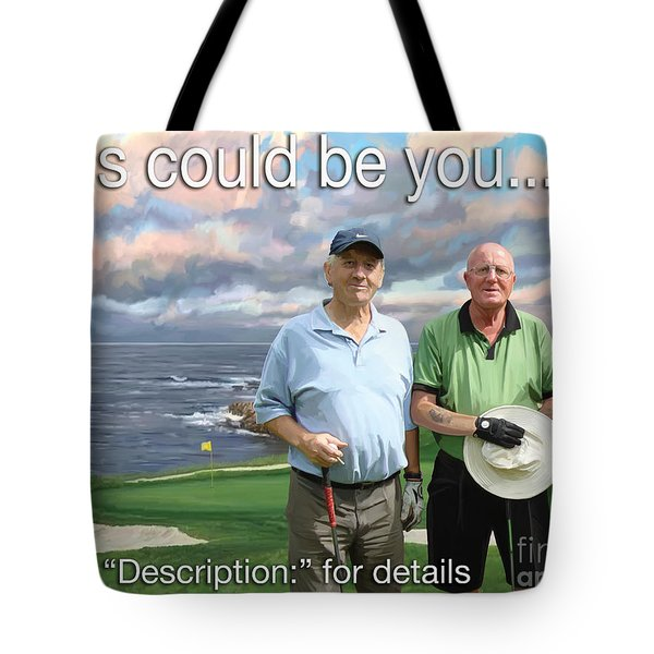 Tote Bag featuring the painting 8th Hole Pebble Beach by Tim Gilliland