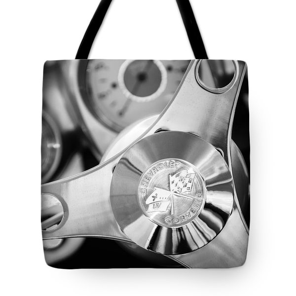 1960 Chevrolet Corvette Steering Wheel Emblem Tote Bag by Jill Reger