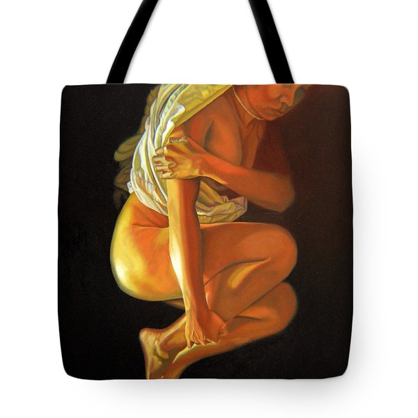 Tote Bag featuring the painting 9 30 Am by Thu Nguyen