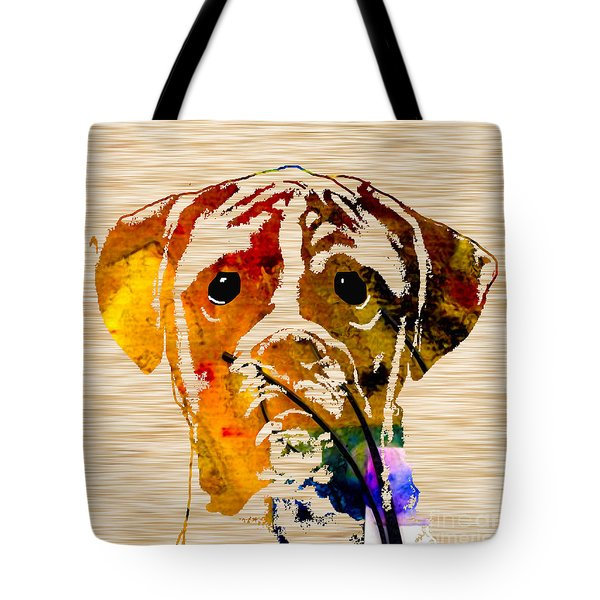 Boxer Tote Bag by Marvin Blaine