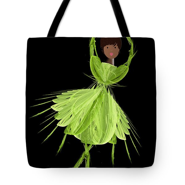 9 Green Ballerina Tote Bag by Andee Design