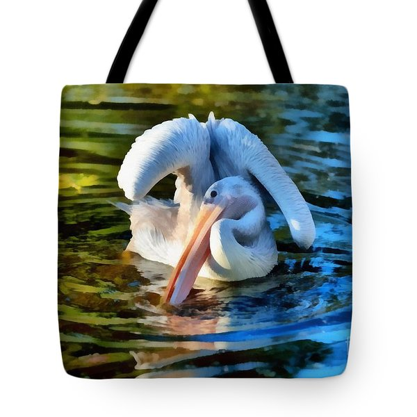 Pink Backed Pelican Tote Bag