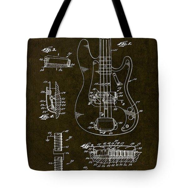 1961 Fender Bass Pickup Patent Art Tote Bag