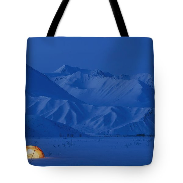 A Backpacking Tent Lit Up At Twilight Tote Bag