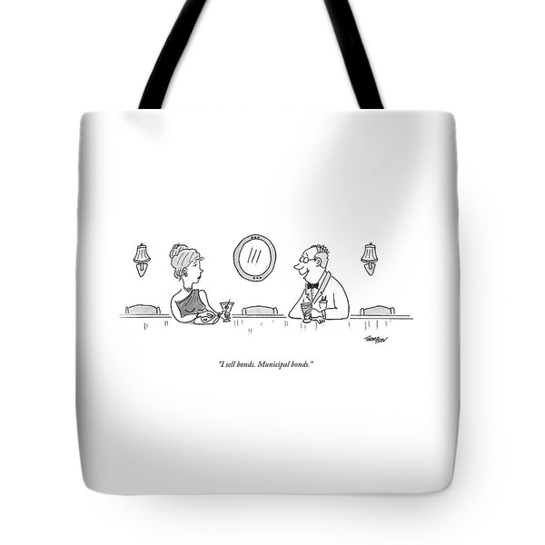 A Bald Man At A Bar In A Tux Speaking Tote Bag