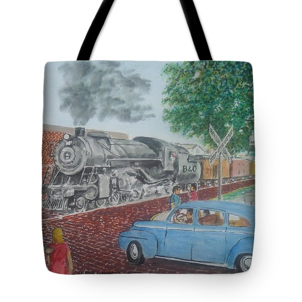 A Baltimore And Ohio Freight Passes Tracy Park Portsmouth Ohio Tote Bag by Frank Hunter
