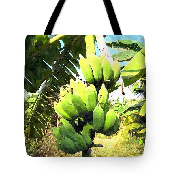 A Banana Field In Late Afternoon Sunlight With Sky And Clouds Tote Bag by Lanjee Chee