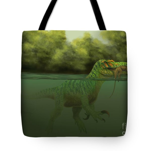 A Baryonyx Escapes Swimming Tote Bag by Alvaro Rozalen