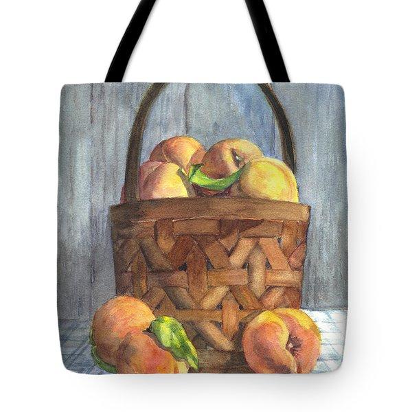 A Basket Of Peaches Tote Bag by Carol Wisniewski