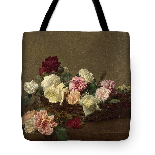 Tote Bag featuring the painting A Basket Of Roses by Henri Fantin-Latour